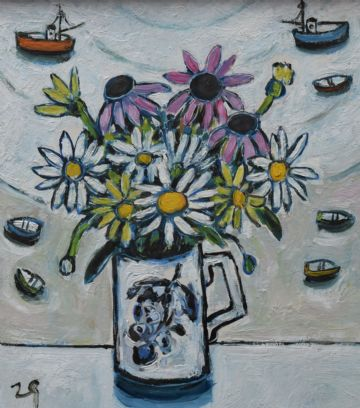 Joan Gillchrest Original Oil Painting Still Life Of Daisies And Boats